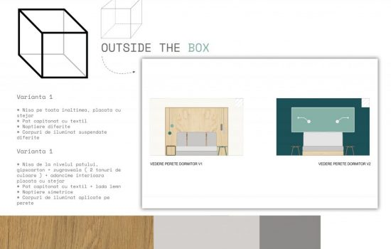 Moodboard + front view of walls, proposal for bedroom