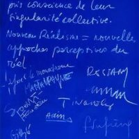 The Nouveau Réalisme Manifesto, signed by all of the original members in Yves Klein's apartment, 27 October 1960